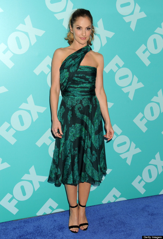minka kelly green dress