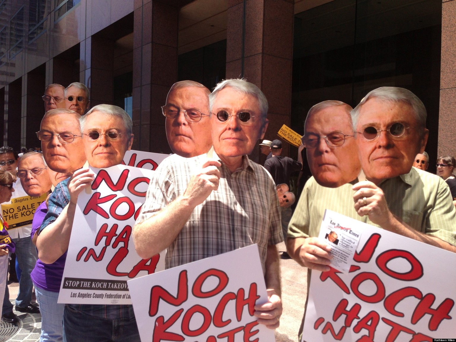 Hundreds Protest Koch Brothers Buying LA Times