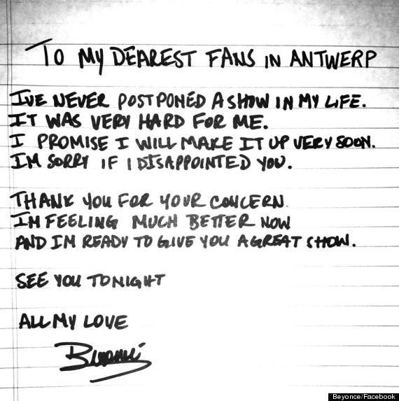 beyonce pregnant letter
