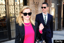 Reese Witherspoon's Chic Street Style: Fluoro Fuchsia And A Leather Tote