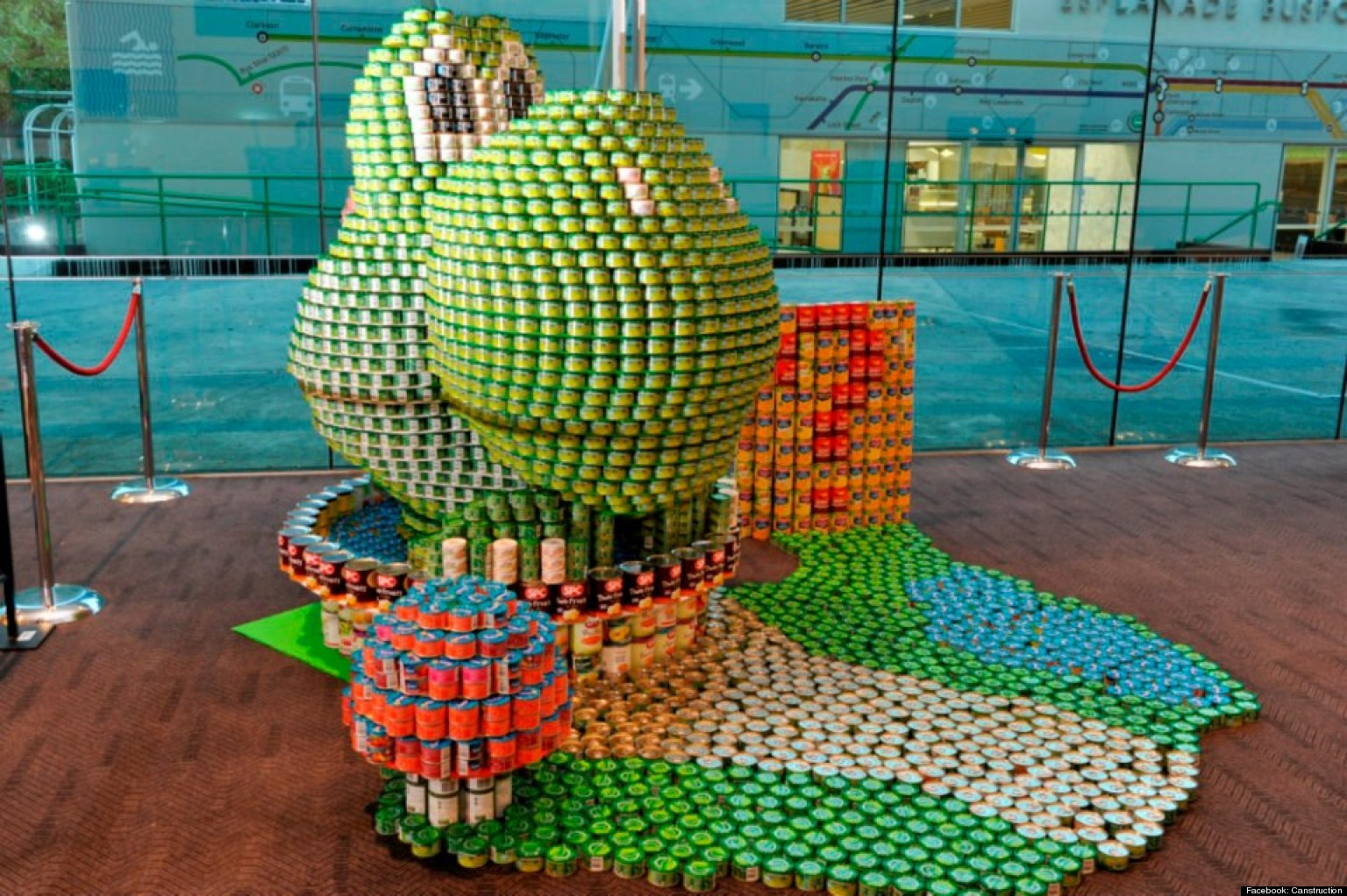 canstruction non profit group builds sculptures made of