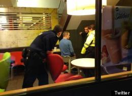 Mc Doh! Police Officers Release Man Stuck In High Chair In McDonalds