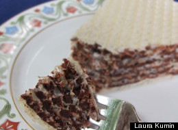 Russian Wafer Cake or Oblatne with Chocolate-Nut Filling
