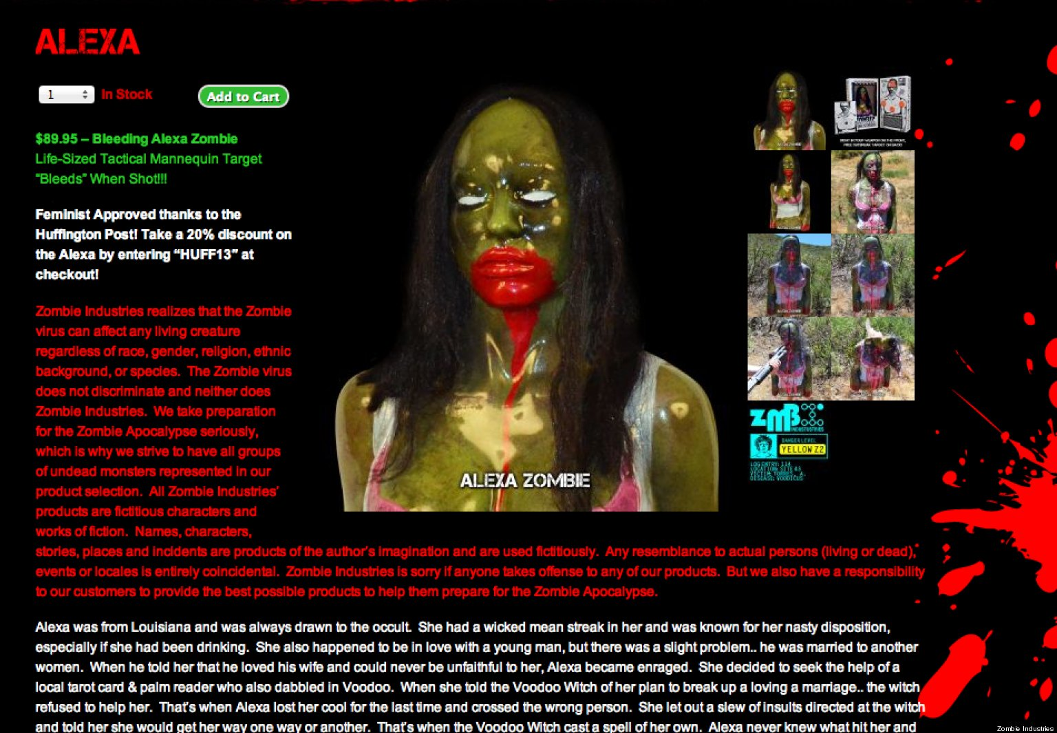 Zombie Maker Razzes HuffPost Over Female Bleeding Target