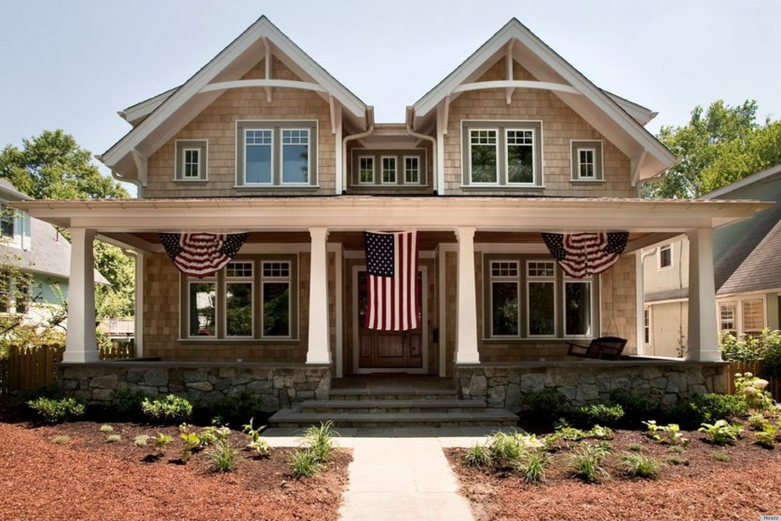 Hang your american flag with etiquette and style huffpost for Shaker style home plans