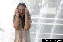 Katie Holmes Gets Soaked By Water Fountain! But It's, Er, Just For A Film