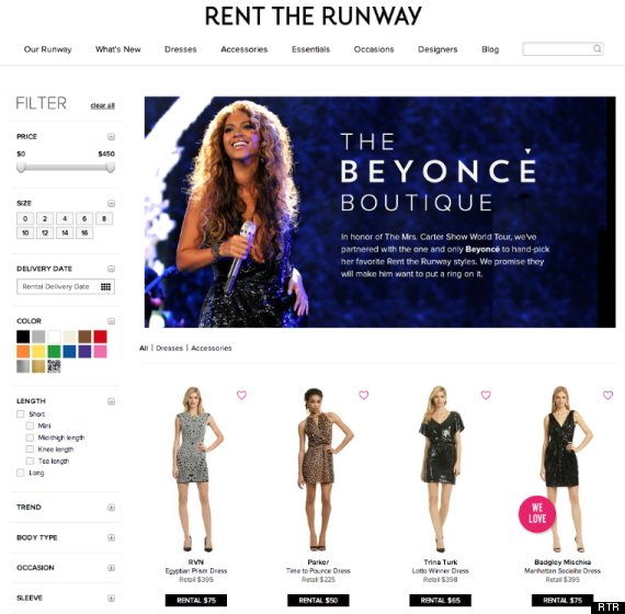 beyonce rent the runway