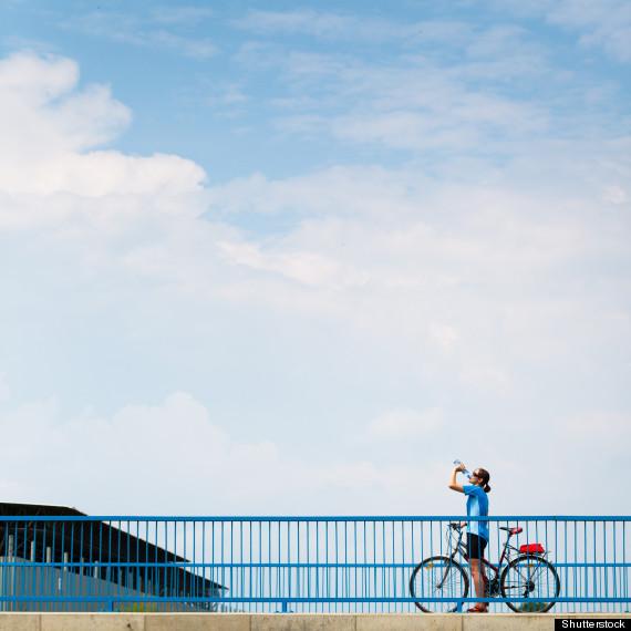 biking on bridge