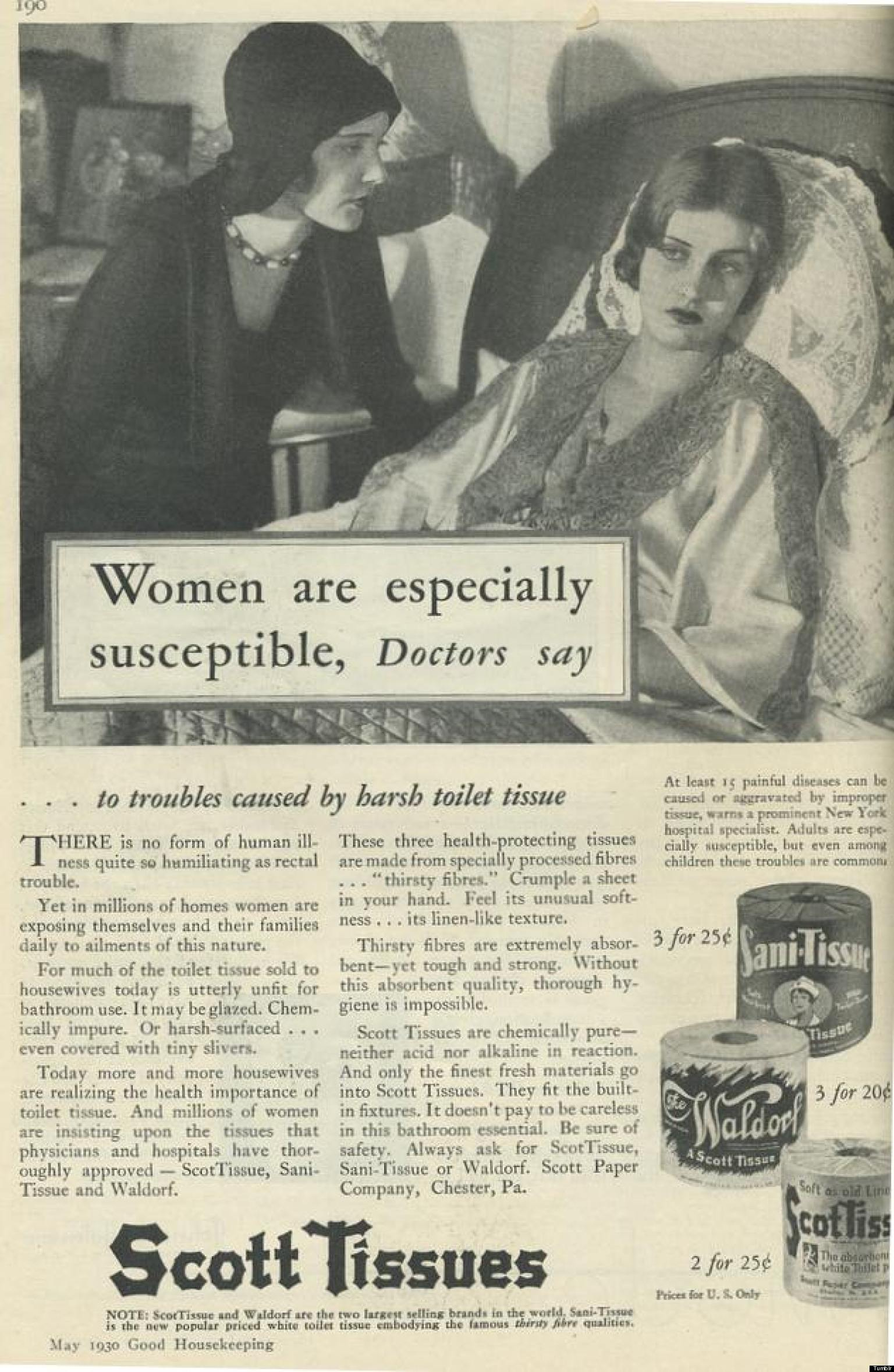 Vintage bathroom ads - Vintage Ad For Scott Tissues Claims Women Are More Susceptible To Toilet Paper Troubles Huffpost