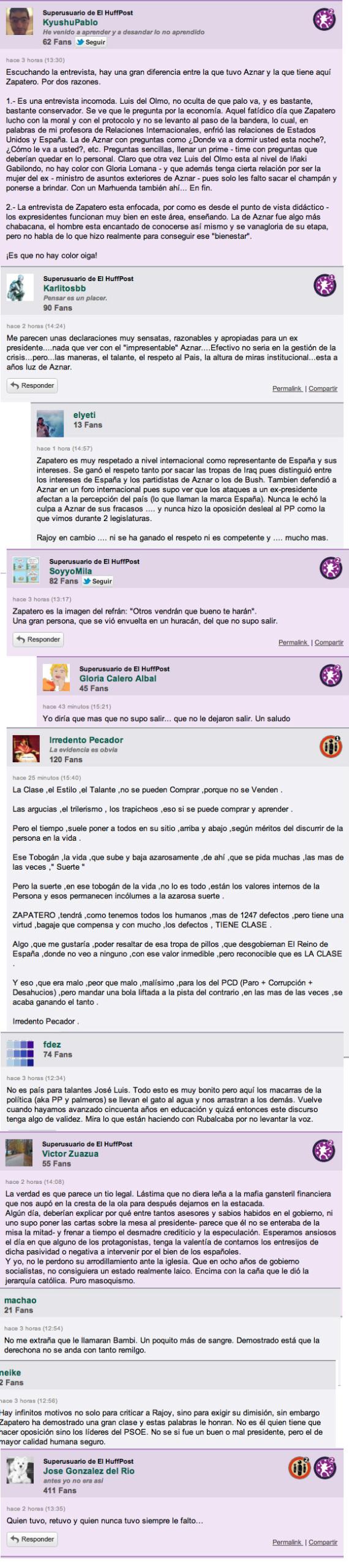 zapatero declaraciones comentarios