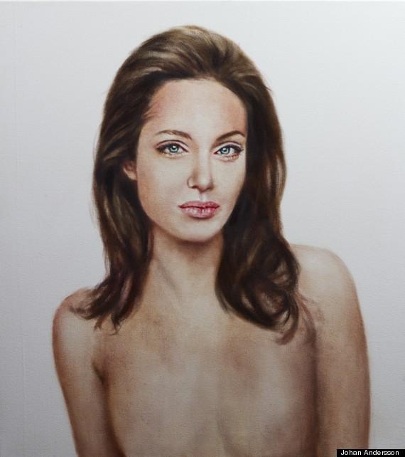 angelina jolie topless portrait