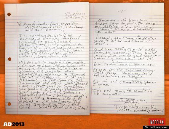 mitch hurwitz arrested development letter