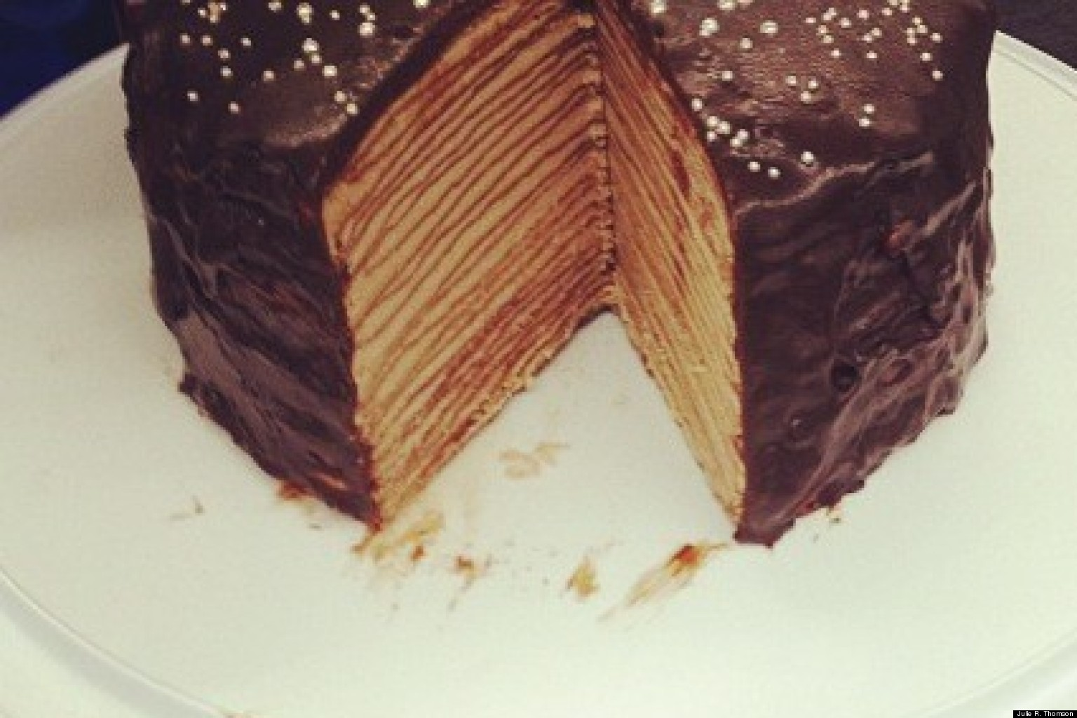 Darkest Chocolate Crepe Cake Recipe — Dishmaps