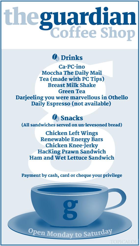 guardian coffee shop spoof menu