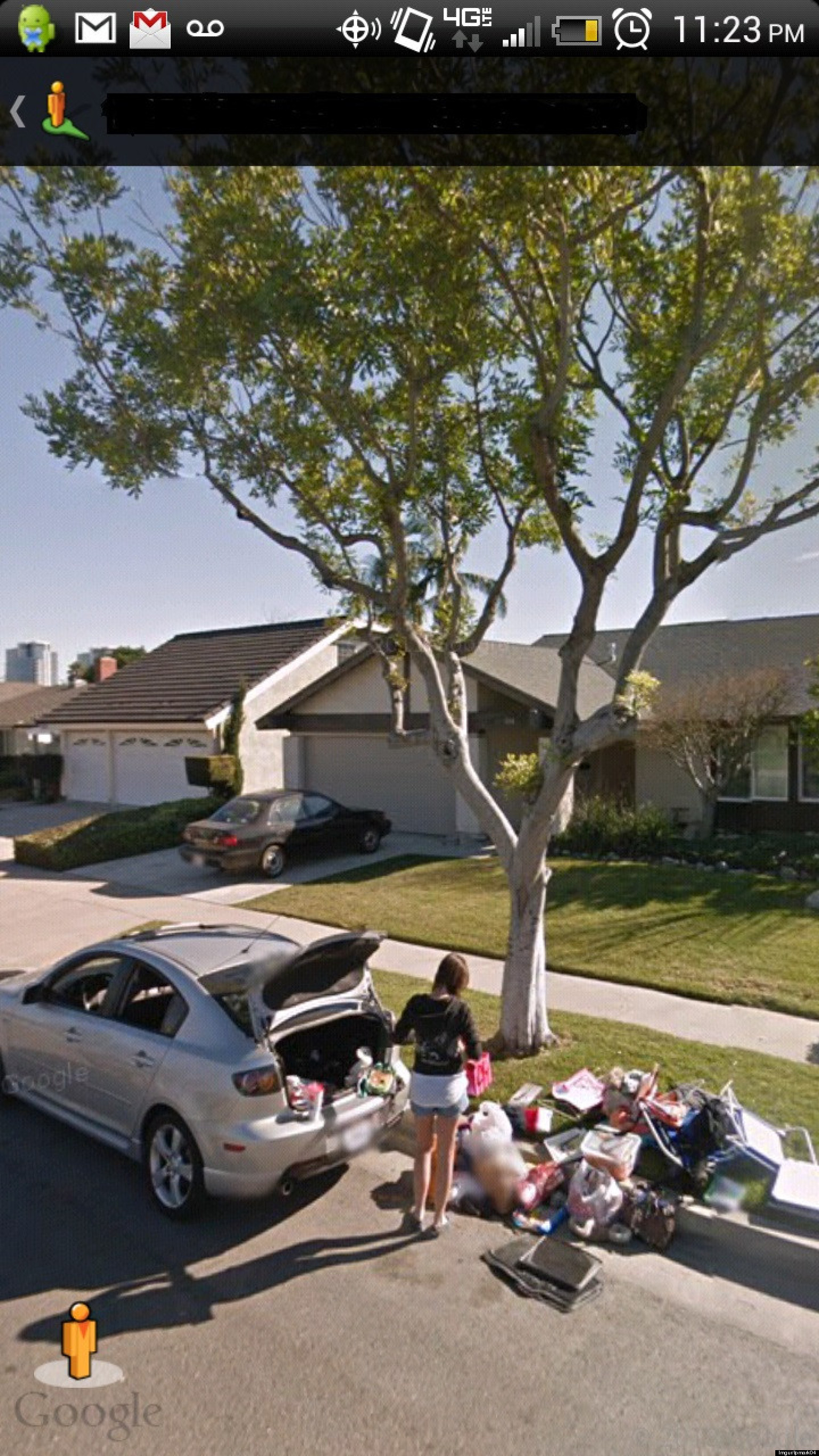 funny breakup google street view allegedly captures the aftermath of a breakup photo. Black Bedroom Furniture Sets. Home Design Ideas