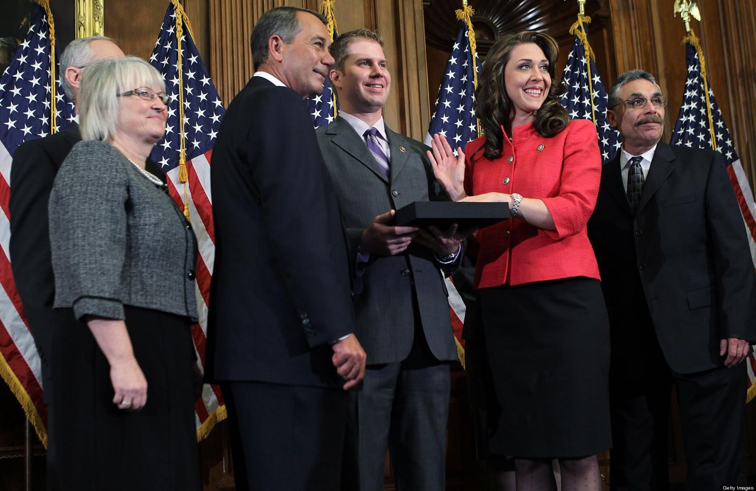 House Speaker John Boehner, R-Ohio, re-enacts the swearing in of Rep. Jaime Herrera Beutler, R-Camas, Jan. 5