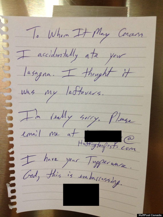 Accidental Stolen Lunch Note Is Hilarious (PHOTO)