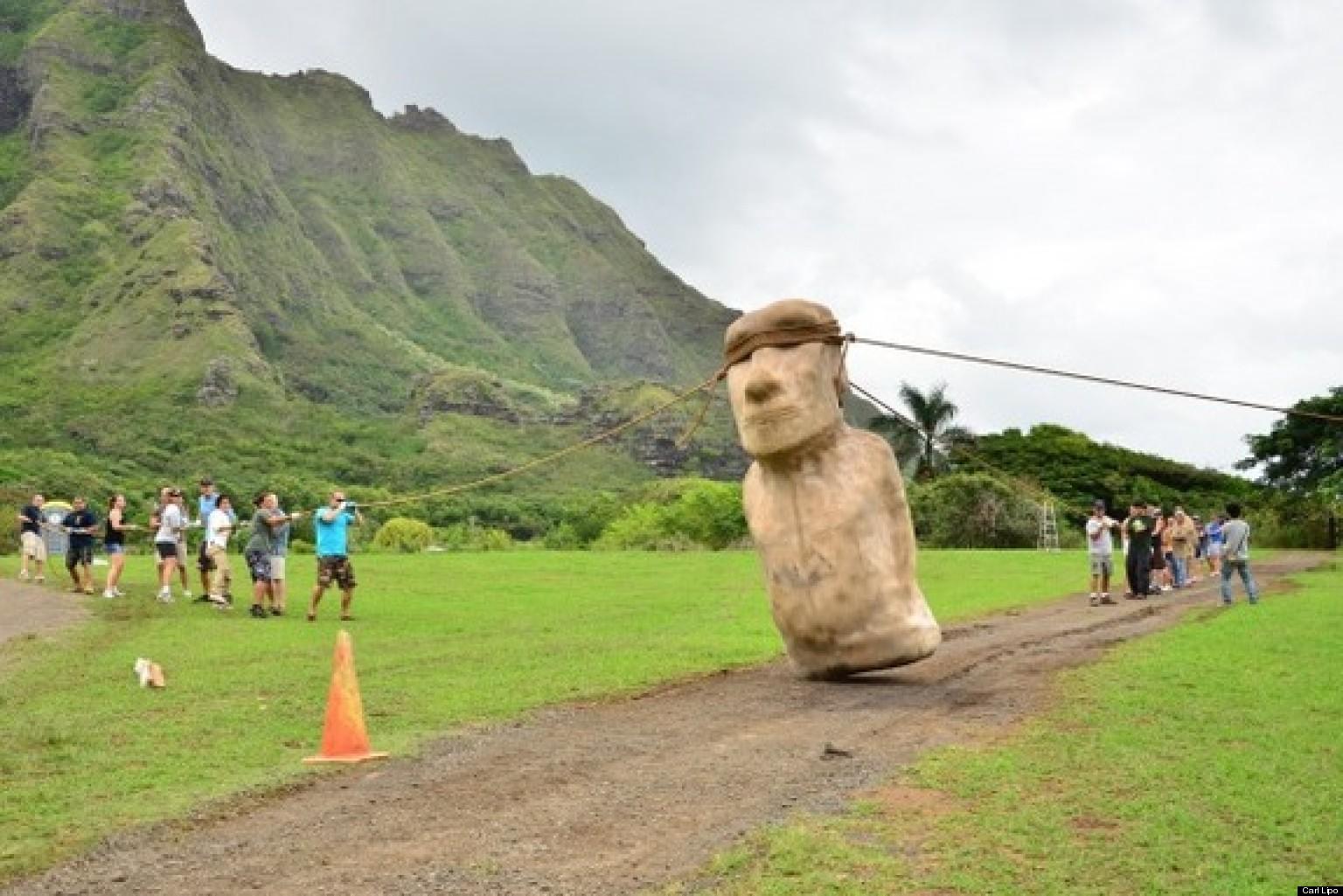 Walking Easter Island Head Gif