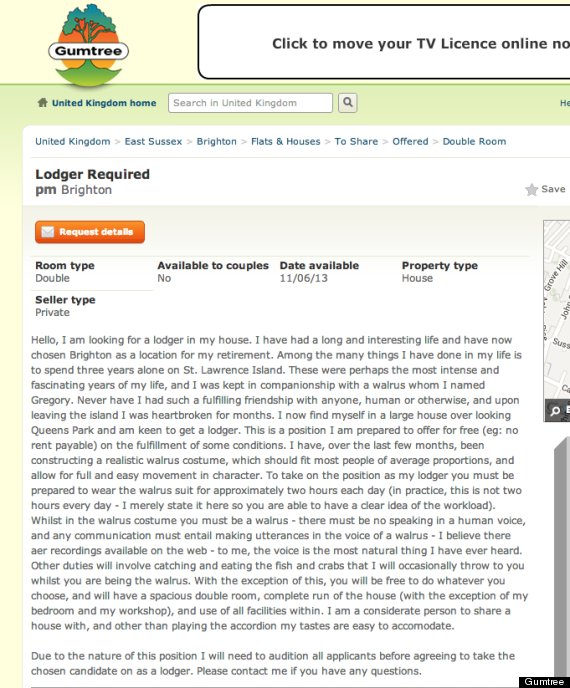 gumtree lodger advert