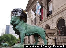 Art Institute Lions Blackhawks Helmets