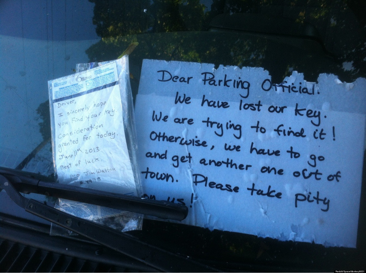 I Locked My Keys In My Car >> Kind Note Will Restore Your Faith In Parking Officials (PHOTO) | HuffPost