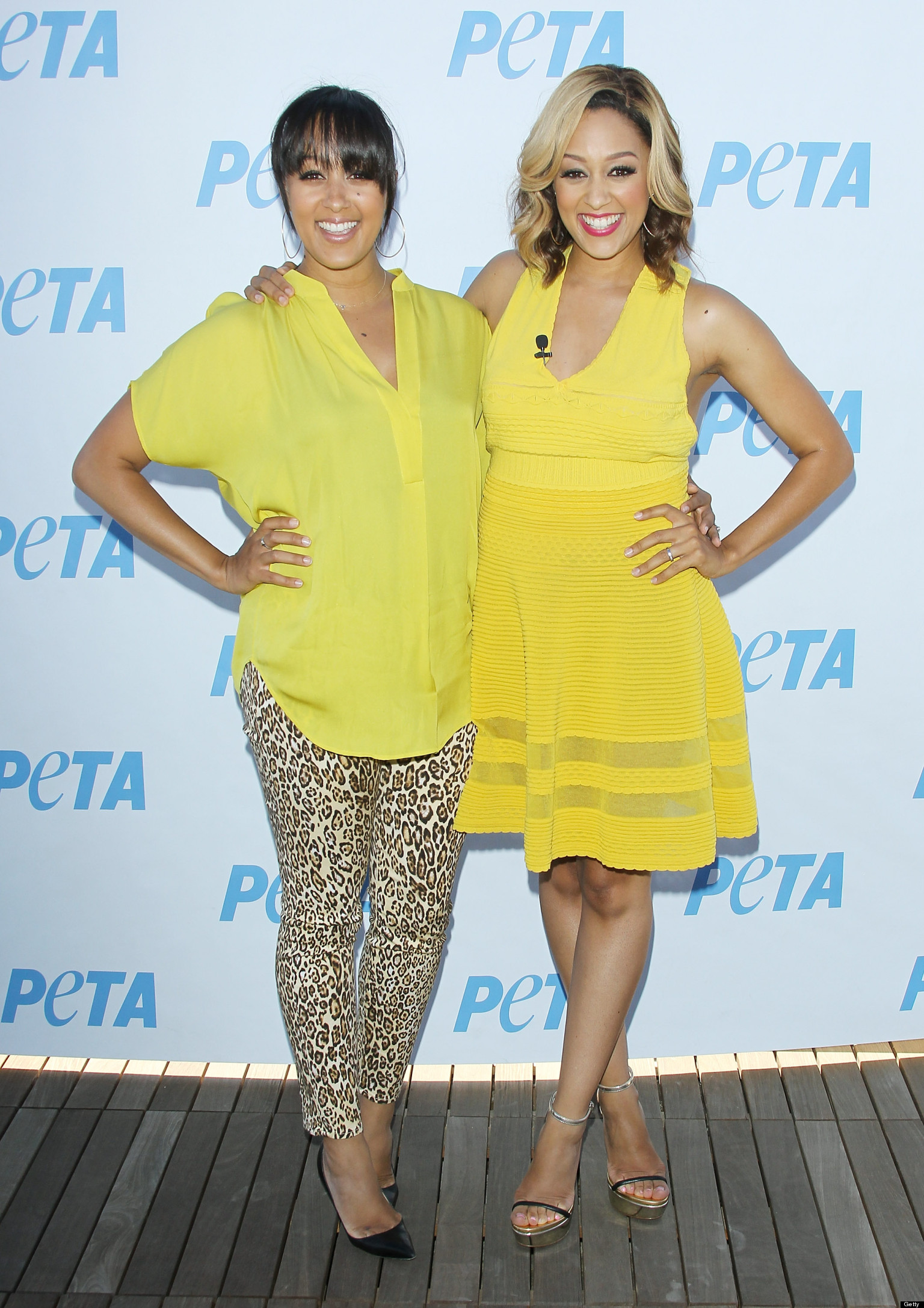 Tia And Tamera Mowry Get Their Twin Style On At Peta Ad Unveiling And ...