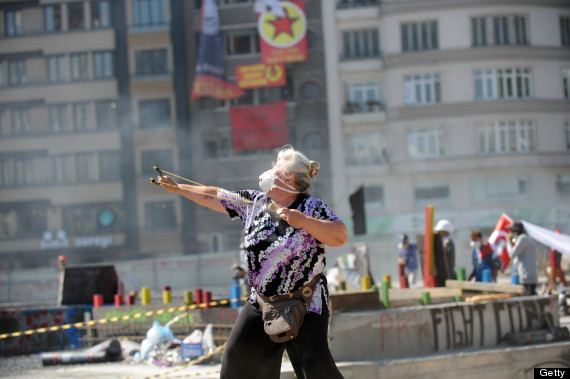 turkish protester slingshot