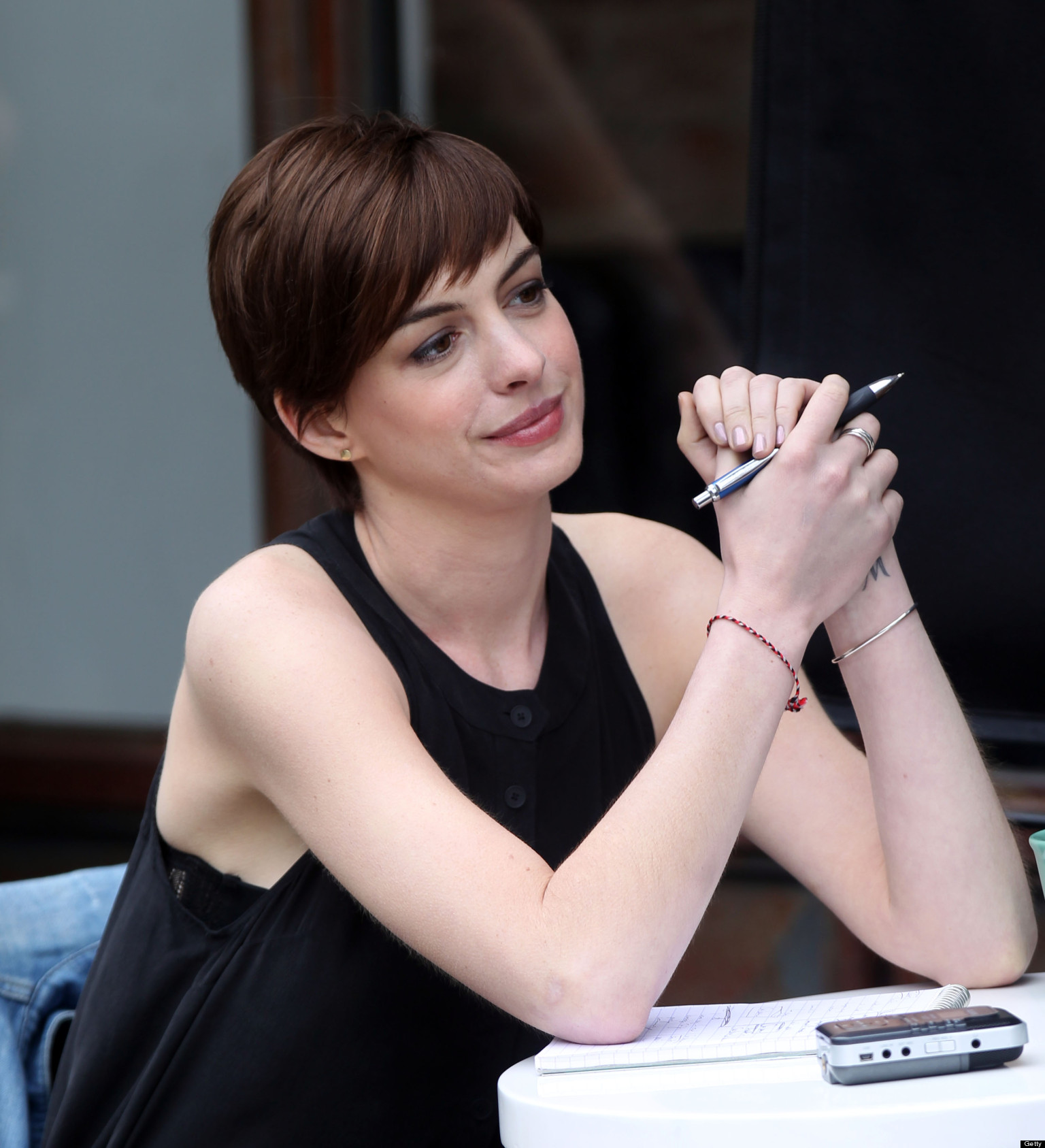 Anne Hathaway Steps Out In Short Shorts
