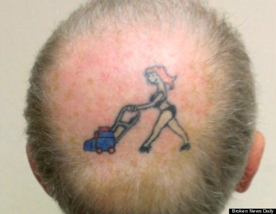 Couple Tattoos Husband Inks Cartoon Of Wife On Bald Spot