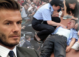 Beckham Arrival Causes Stampede In Shanghai (PICTURES)