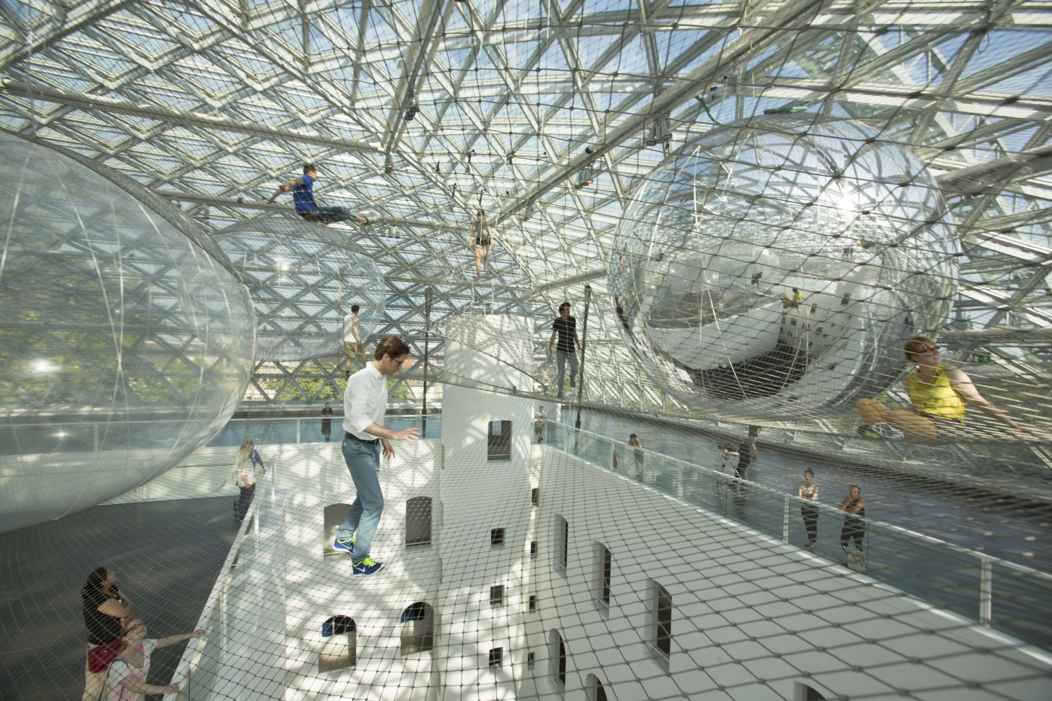 tom s saraceno 39 s 39 in orbit 39 is his largest exhibition to