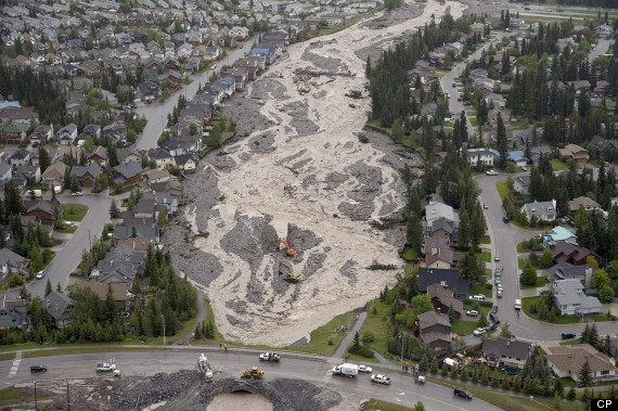 THe height of the flood at Cougar Creek