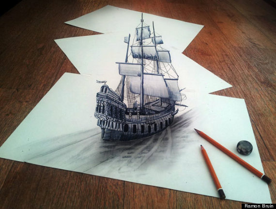 3D Pencil Drawings By Artist Ramon Bruin Look Like They're Floating ...