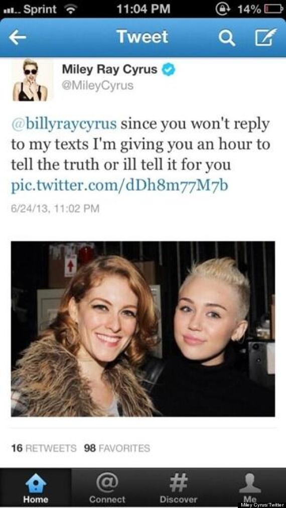 miley cyrus threatens father
