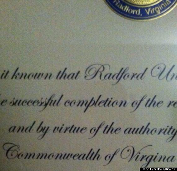 radford university misspells virginia
