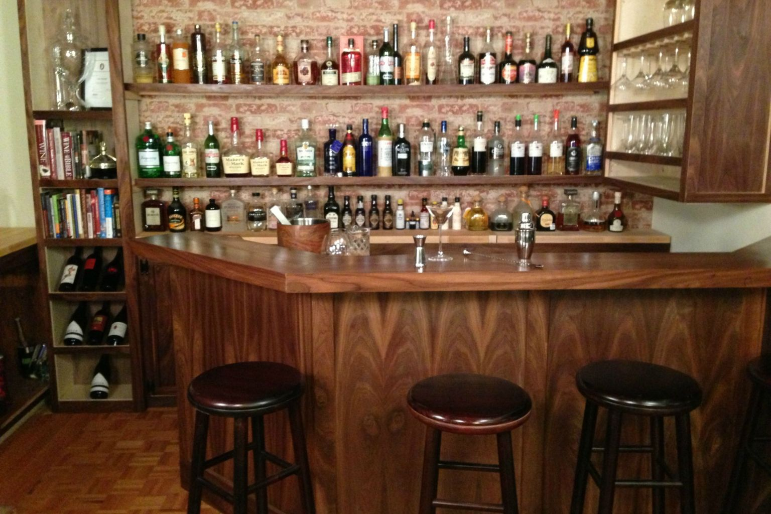 Home bar built by a professional bartender takes diying to for Bar at home furniture