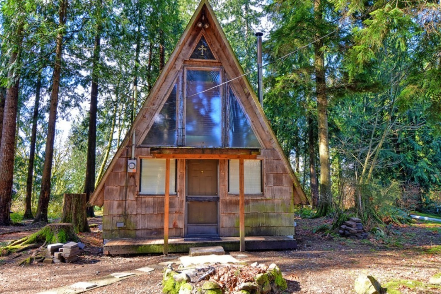This a frame tiny home for sale would make the perfect for A frame house plans canada