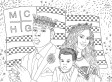 Jay-Z, Beyonce & Blue Ivy Coloring Page: The July 4th American Royalty