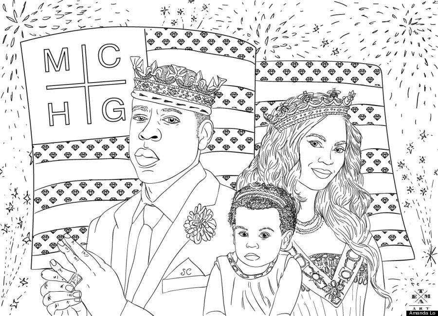 Jay Z Beyonce Blue Ivy Coloring Page The July 4th American
