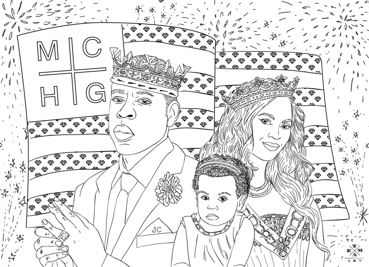 Jay Z Beyonce Amp Blue Ivy Coloring Page The July 4th