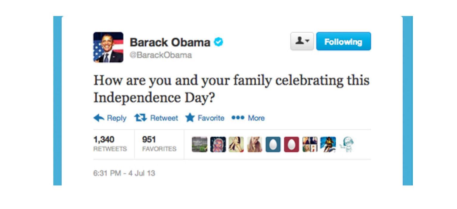 Barack obama tweets how are you spending independence day here