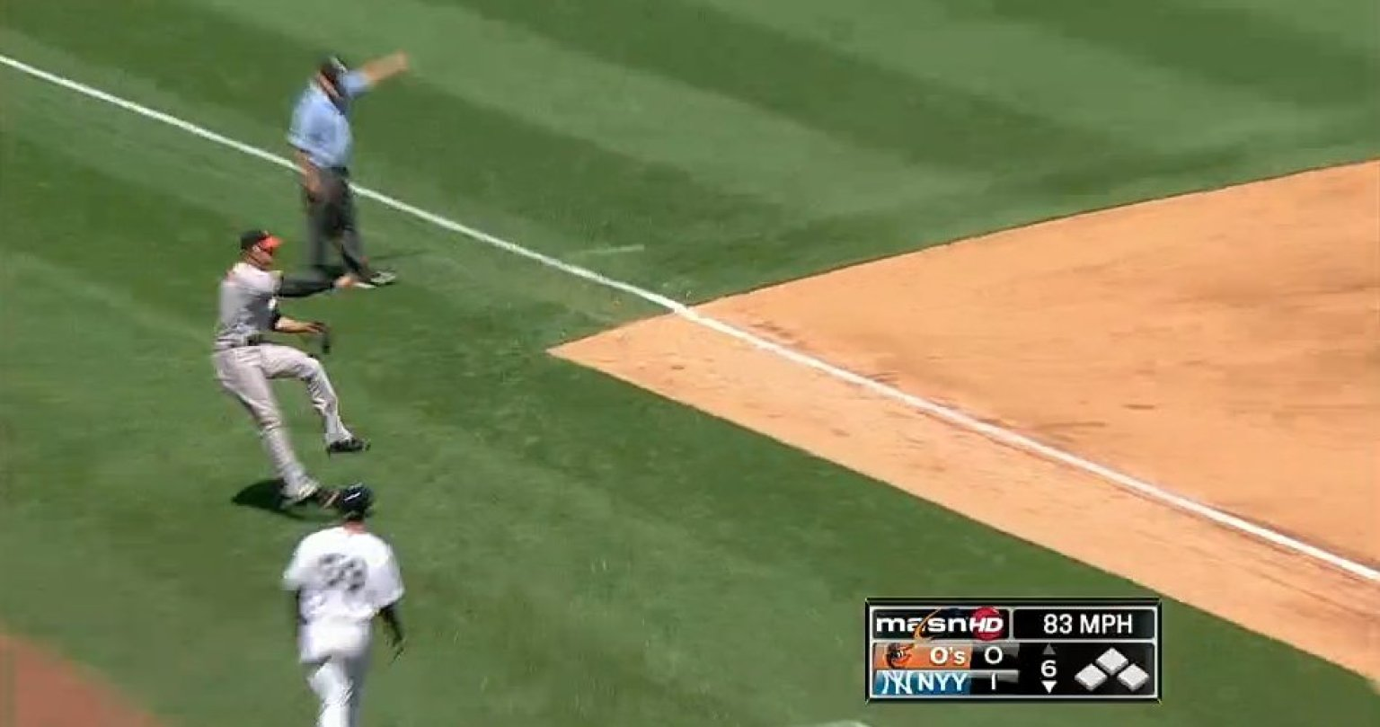 manny machado robs luis cruz of hit with outstanding