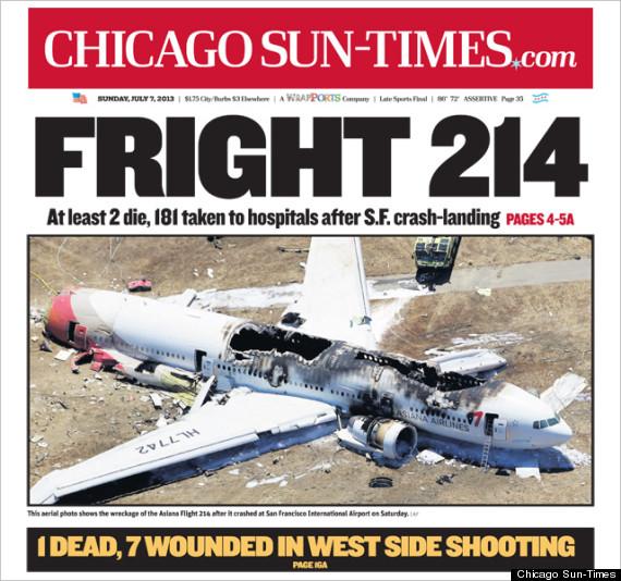 Chicago Sun Times Criticized For Plane Crash Headline PHOTO