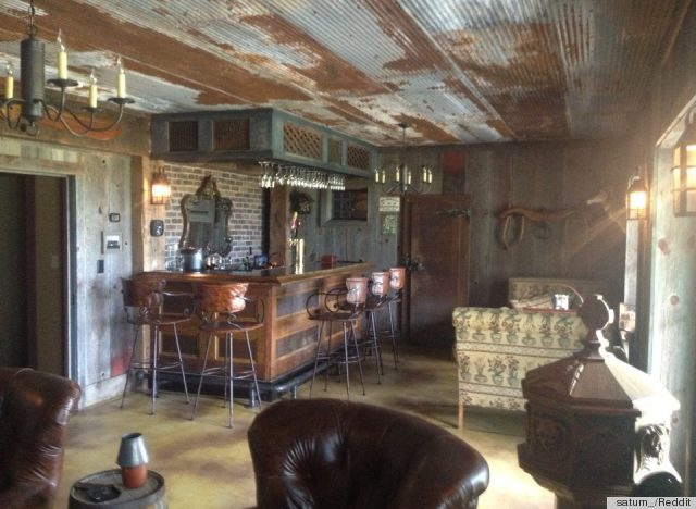 DIY Bar Made From Old Barn Scraps Is The Ultimate Man Cave PHOTO