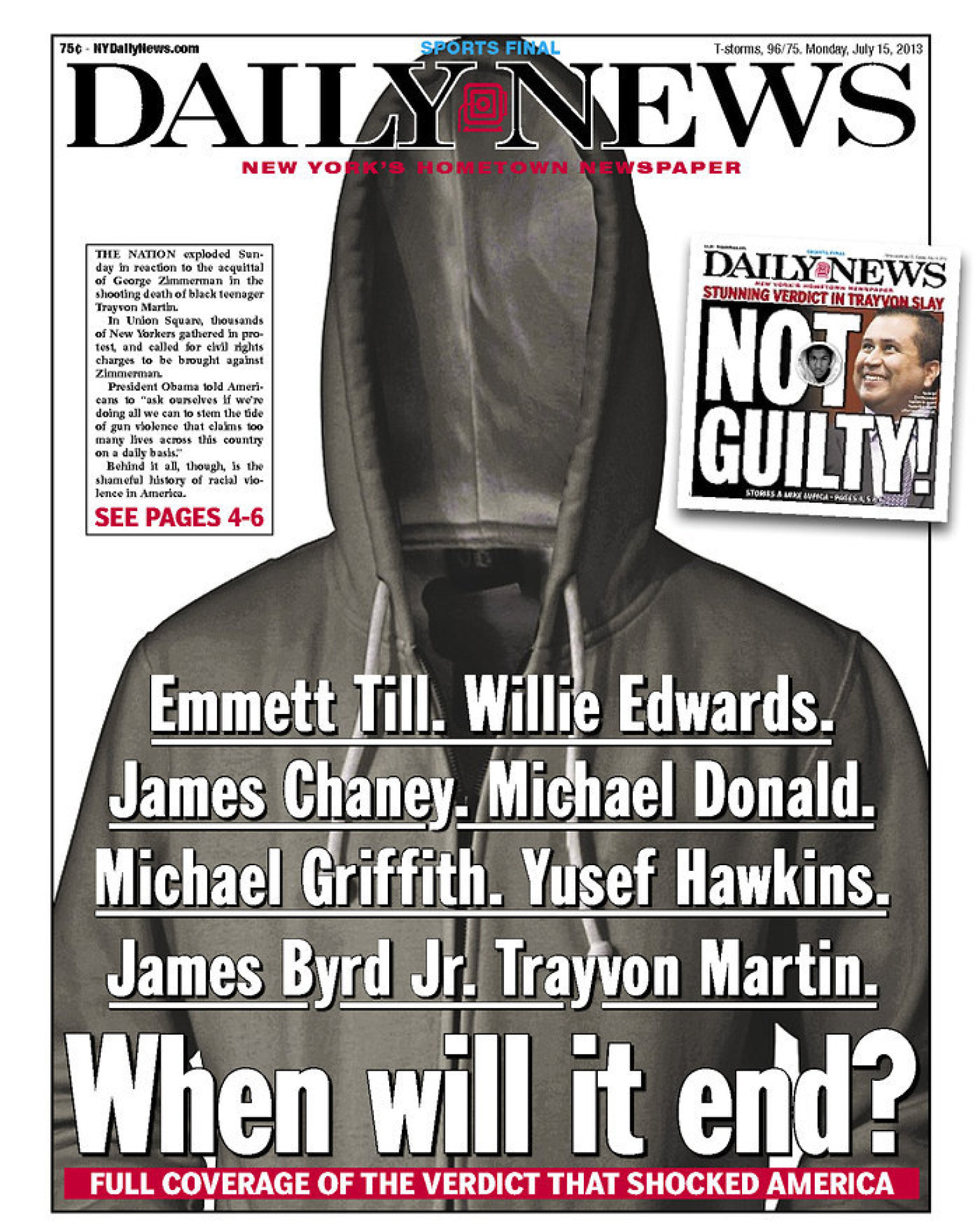 New York Daily News: NY Daily News' Powerful Trayvon Martin Front Page (PHOTO