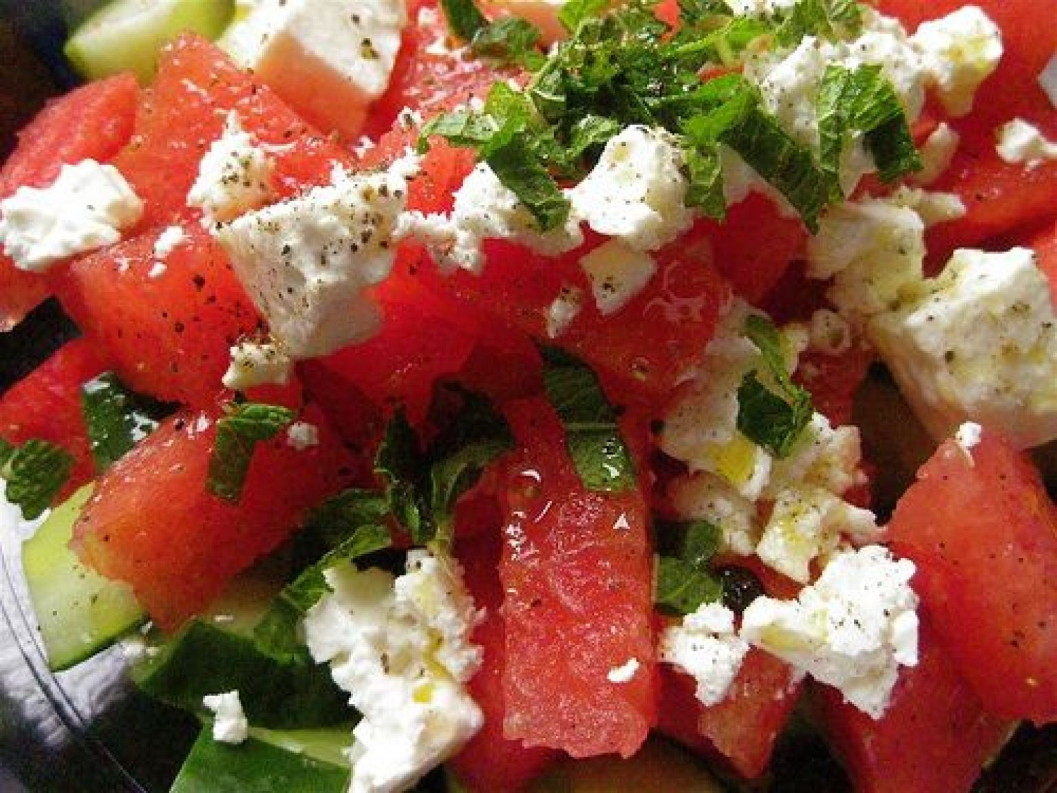Watermelon Salad Recipe With Cucumbers, Mint and Feta Cheese | Organic ...