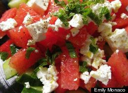 Watermelon Salad Recipe With Cucumbers, Mint and Feta Cheese