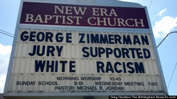 baptist church zimmerman racism sign