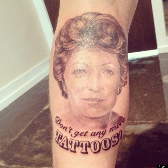 tattoo teaches grandma a lesson photo huffpost. Black Bedroom Furniture Sets. Home Design Ideas