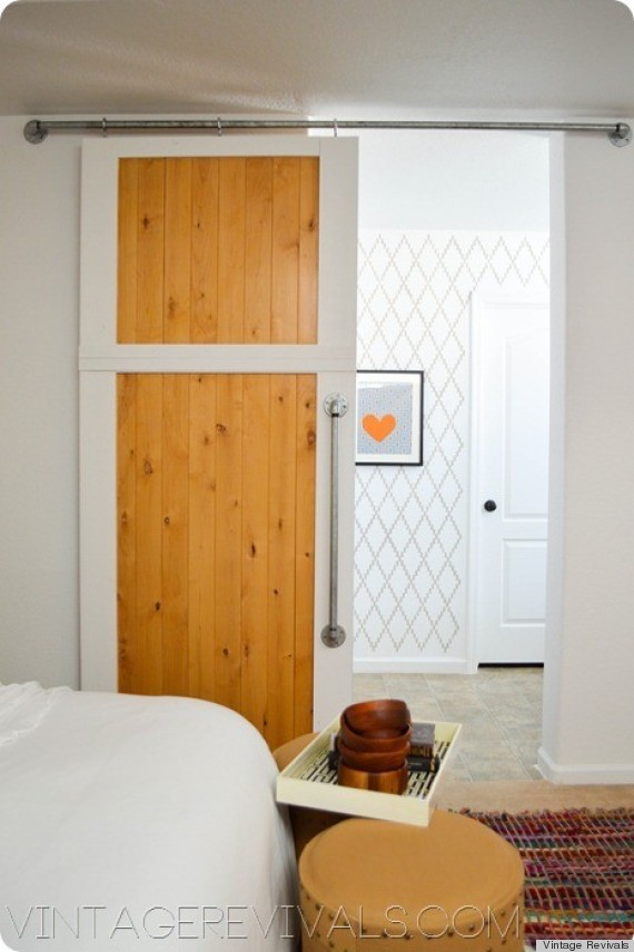 Make A Diy Sliding Barn Door Out Of Simple Hardware Store Finds Photos Huffpost